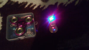 2 Fidget Spinners Purple Chrome and Gold Red and Blue light up