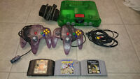 Jungle Green N64 with expansion pack, 2 controllers, and 3 games