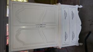 Large white antique armoire