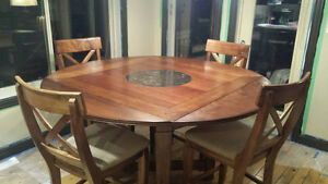 Hi-top Hardwood Dining Room Table set with 6 Chairs