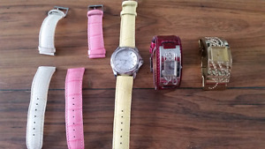 Ladies guess watches. 3.  Leather and gold straps