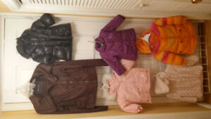 Girl Assorted Winter Jackets, Size 0/6, 6/12, 18, 3T and Medium