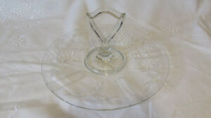 Vintage Art Deco Glass Cornflower Sandwich Plate with Handle