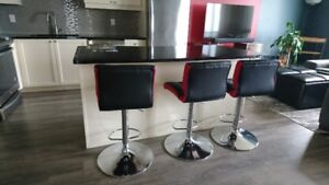 Red and Black Bar Chairs