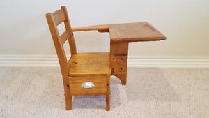 Antique Oak School Desk/Chair with Drawer