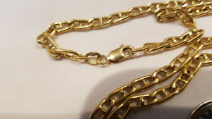"18k Solid Gold Chain 21"" Long Weighs 24.5 Grams Marine Link"