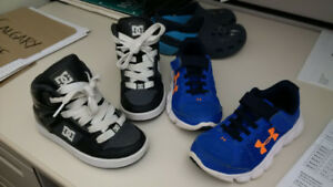 Little Boys size 11 Under Armour and DC hightop shoes