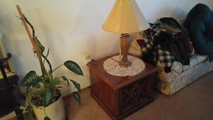 Square wood lamp or end table