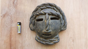 Vintage, Black Clay Tribal Mask of Luck
