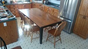 "42""x84"" Harvest Table with 8 Windsor Chairs"
