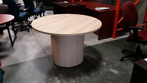 Office Desk - Round Meeting Room Table with Drum Base