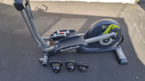 Norditrack elliptical and kettle weights.