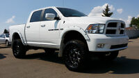 2012 RAM 1500 SPORT LIFTED, FLARES GREAT LOOKING RIMS/TIRES !!