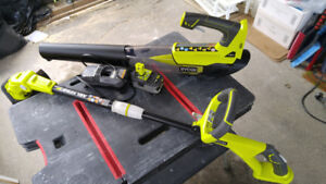 RYOBI 18V trimmer and leaf blower + 4Amp Battery and Charger,