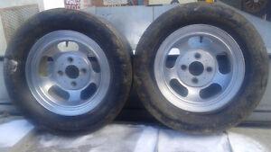"RARE 13"" 4 lug aluminum slot mag wheels (pair only)"