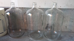 Set of 6 GALLON GLASS CARBOYS for secondary fermentation of wine
