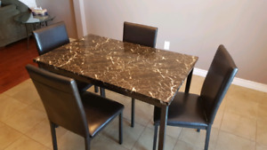 Marble top style table and 4 chairs
