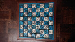 Hand carved chessboard and pieces