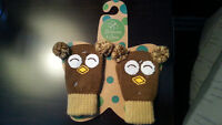 Infant Baby knitted mittens - Owl design, Blossoms & Buds