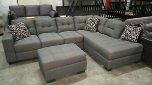 Double stitched, contempory modular sectional with chaise, NEW