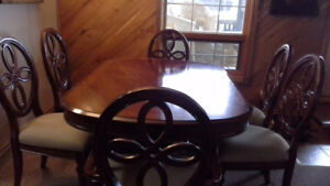 Wood Dining Room Table & Chairs For Sale