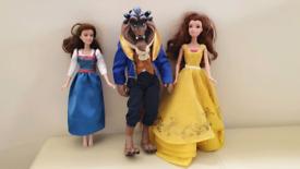 Disney store beast doll & Emma Watson belle & princess belle dolls All