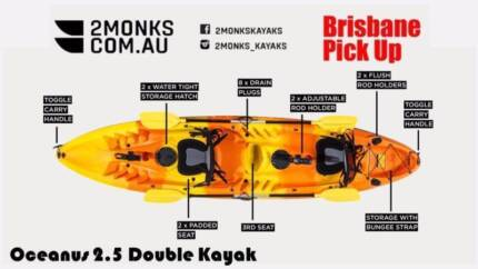 2 Monks Brisbane 3.7M Oceanus: Sit-On 2.5 Double Fishing Kayak