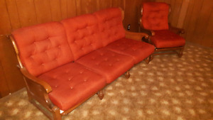 Vintage Vilas solid maple framed couch and chair