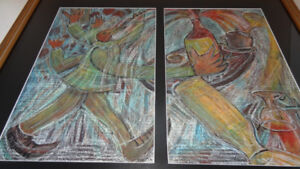 """Beak-Man Waiter"" diptych, signed by Remi 26/7/85"