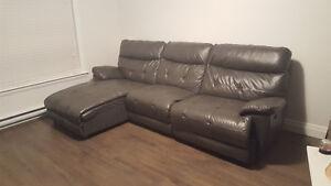 Gray Leather Reclining Sofa St. John's Newfoundland image 1