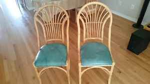 quality two  bamboo chairs with blue cushion price reduced