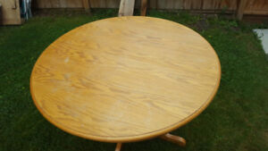 Large wood table and six chairs