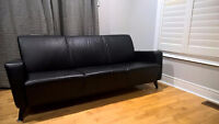 Almost NEW 100% Genuine Leather Black Modern Couch from IKEA