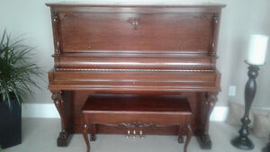 MASON & RISCH fully restored 1905 clawfoot PIANO and BENCH-MINT!