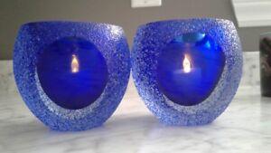 Blue Crystal candle / tealight / votif holder