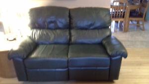 Causeuse et fauteuil en cuir de couleur verte