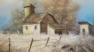 "NICE LITTLE (16"" X 12"") ORIGINAL OIL on CANVAS PAINTING, Barn Cambridge Kitchener Area image 3"