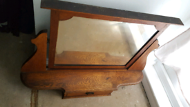 ANTIQUE FURNITURE 2 x VINTAGE SOLID WOOD MIRROR Stand + front DRAWERS