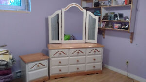 nice dresser with mirror with matching night stand