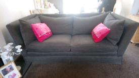 Delcor large sofa, blue chenille