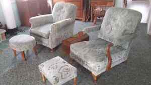 Couch with 2 arm chairs and foot stools Kingston Kingston Area image 3