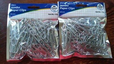 160 JUMBO PAPER CLIPS 2 INCH LENGTH (50 mm) silver color ZIP-LOCK BAG