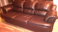 Extremely comfortable leather pullout couch