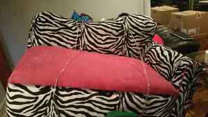 Pink and zebra print couch