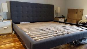 West Elm Grid-Tufted Upholstered Tapered Leg Bed - King