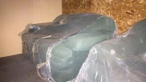 3 Seater Sofa / Couch and 2 Seater Loveseat in green fabric.