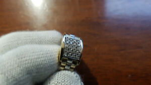Men's Two Tone 10k Gold Rolex Style Diamond Ring Size 8
