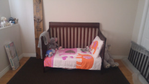 Convertible toddler bed and mattress (Bedding not included)