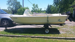 16 ft fiberglass boat with trailer and 50hp motor