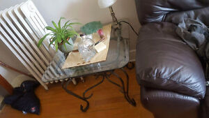 Glass end tables and coffee table